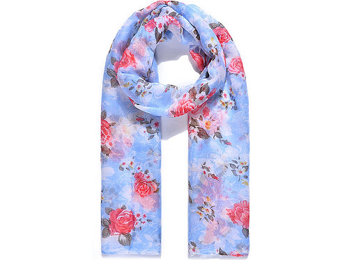 Blue Ditsy Floral Print Scarf