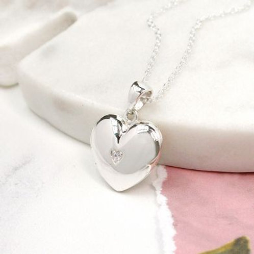 Sterling Silver Heart And Crystal Locket