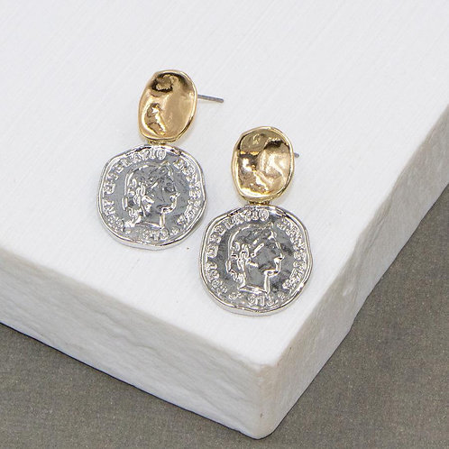 Two Tone Coin Earrings