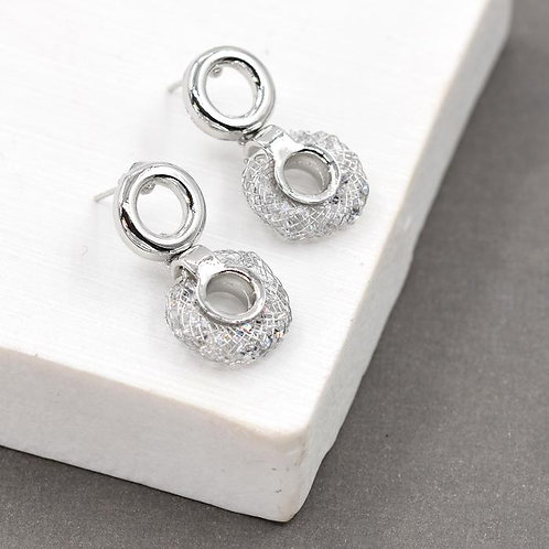 Disc Shape Earrings with Post and Circle Drop