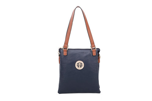 Two Tone Shoulder Bag With Motif - Navy