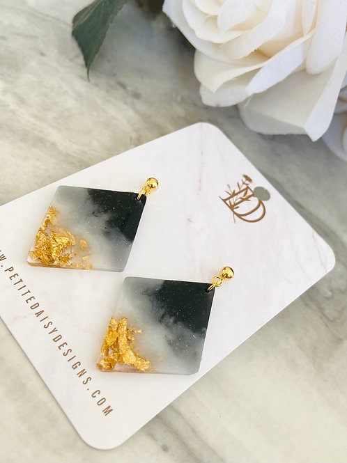 Crystal Effect & Gold Leaf Resin Diamond Earrings
