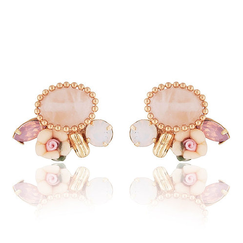 Pink Flower 'n' Mixed Gem Stud Earrings