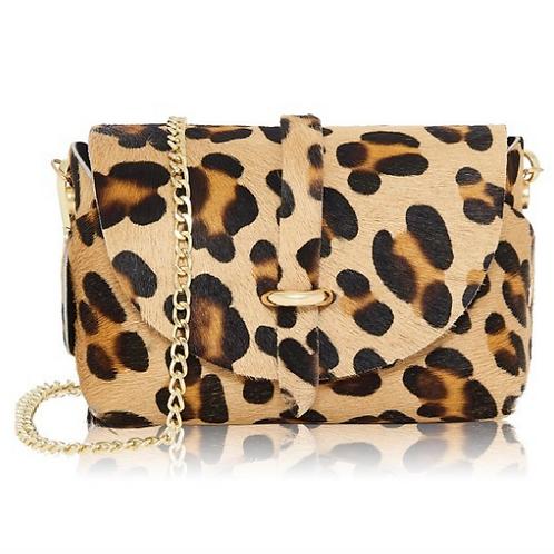 Leather Small Fur Shoulder Bag | Leopard