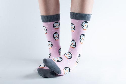 Pink Penguin Bamboo Socks