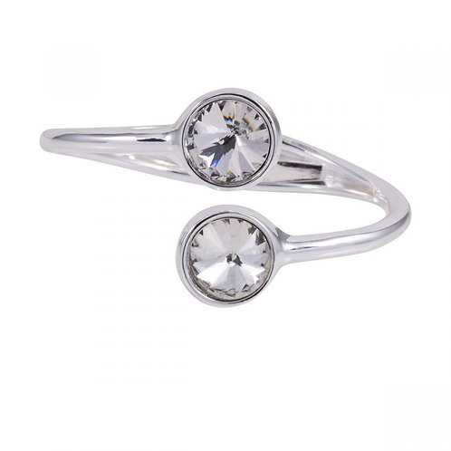 Elizabeth Silver and Crystal Hinged Bracelet