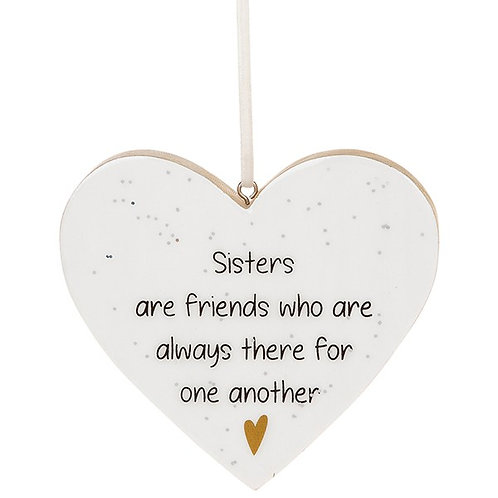 Glitter Words Hanging Heart Sign | Sisters