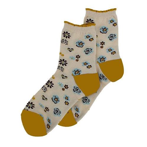 Pansy Floral Cream/Ochre Socks