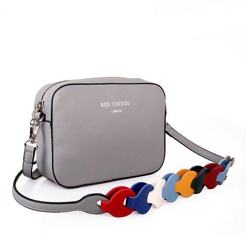 Red Cuckoo Silver Crossbody Bag