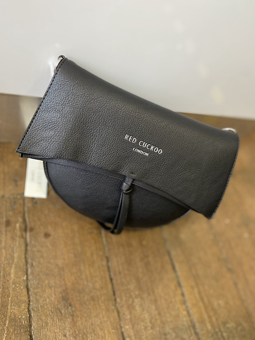 Black Half Moon Fold Over Cross Body Bag