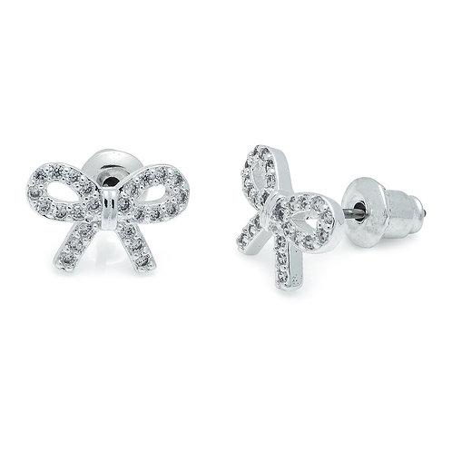 Cubic Zirconia Pretty Bow Earrings