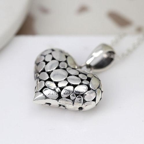 Sterling Silver Pebble Heart Pendant