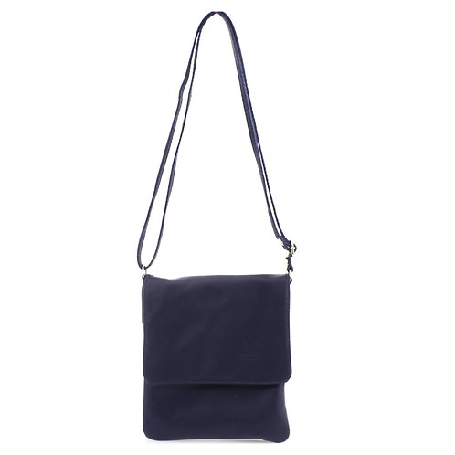 Small Soft Leather Flap Over Bag | Navy