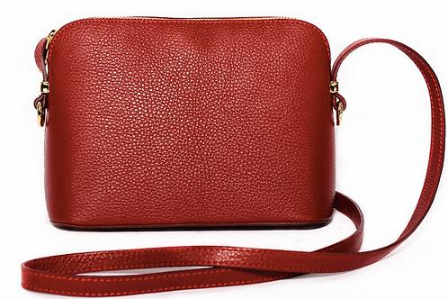 Leather Zipped Crossbody Bag | Dark Red