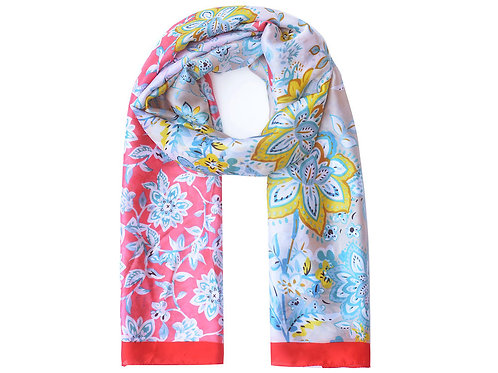 Red Silk Like Paisley Print Scarf