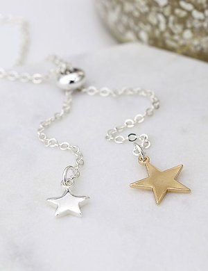 Double Star Lariat Style Necklace