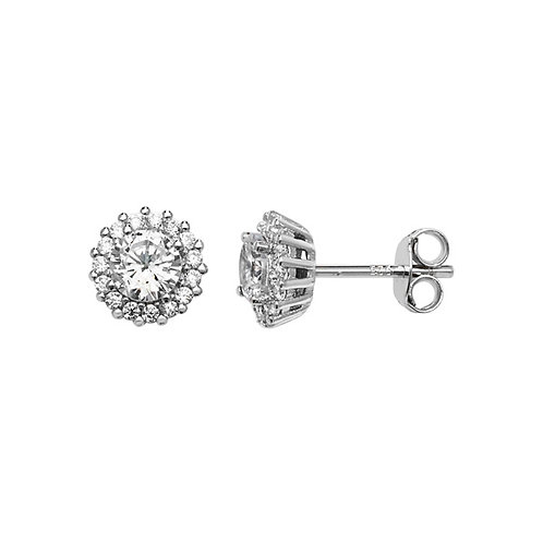 Sterling Silver Halo Stud