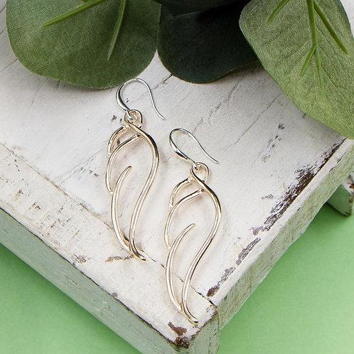 Two Tone Open Angel Wing Earrings