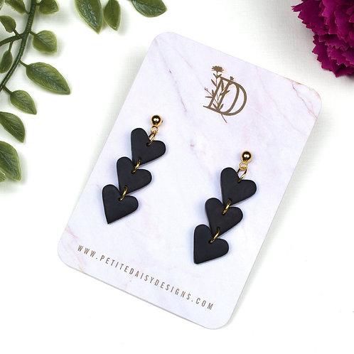 Black Love Heart Polymer Clay Earrings