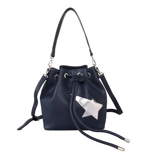 Red Cuckoo Navy Shoulder Bag With Star Design