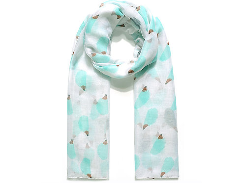White & Mint Hedgehog Scarf