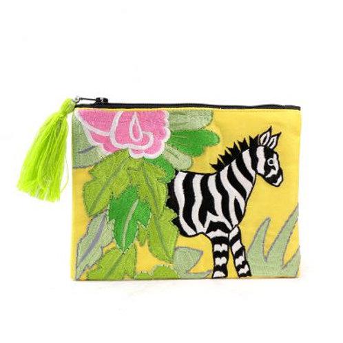 Zebra Embroidered Purse / Make Up Bag
