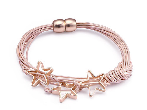Pink Leather Bracelet with Star Charms
