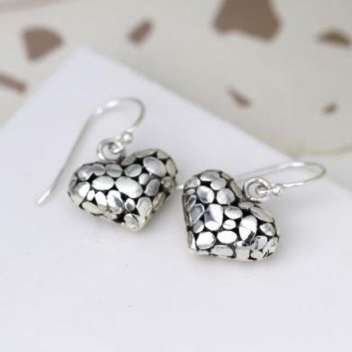 Sterling Silver Pebble Heart Drop Earrings