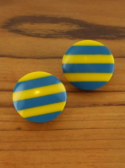 Striped Resin Stud, Yellow / Teal