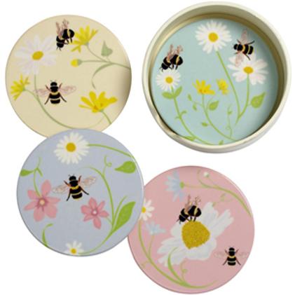 Set Of 4 Ceramic Bee Coasters