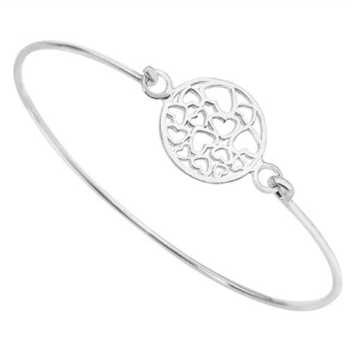 Sterling Silver Heart Detail Bangle