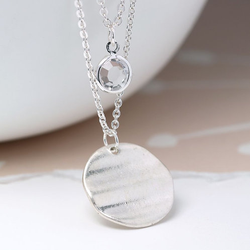 Layered Disc & Crystal Necklace