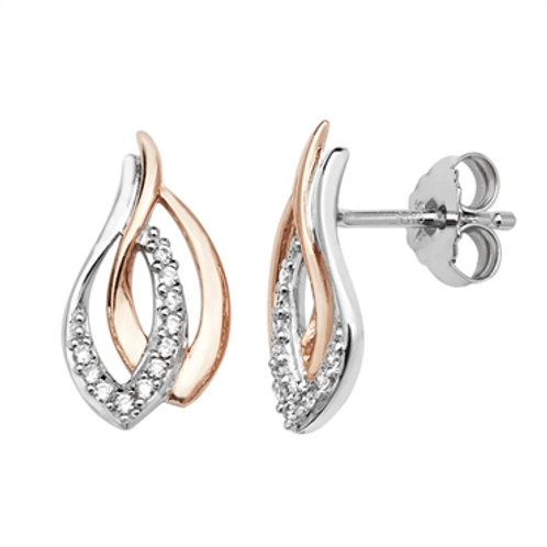 Sterling Silver Two Tone CZ Twisted Studs