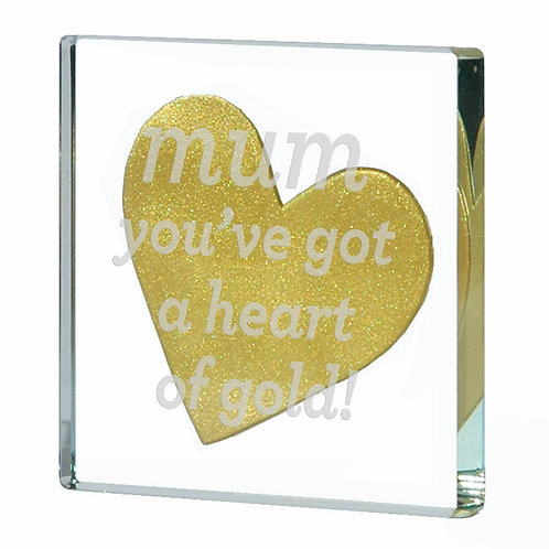 Spaceform Miniature Glass Token   Mum Heart Of Gold