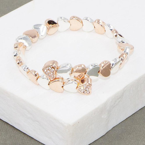 Memory Wire Bracelet With Crystal Hearts