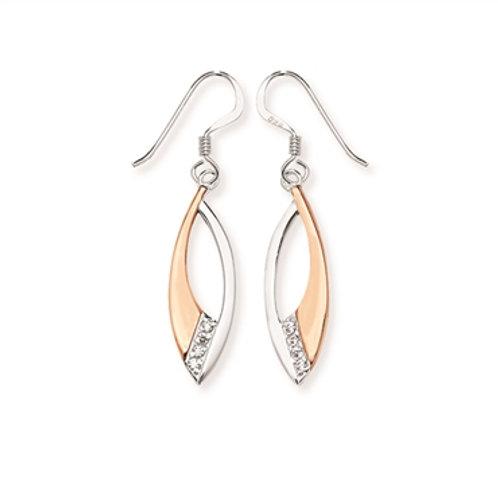 Sterling Silver CZ Drop Fish Hook Earrings