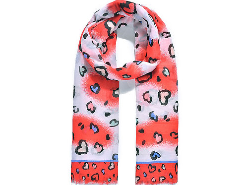 Red Heart & Leopard Print Scarf