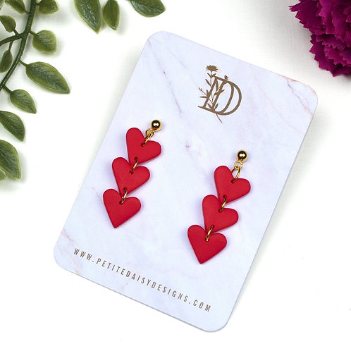 Red Love Heart Polymer Clay Earrings