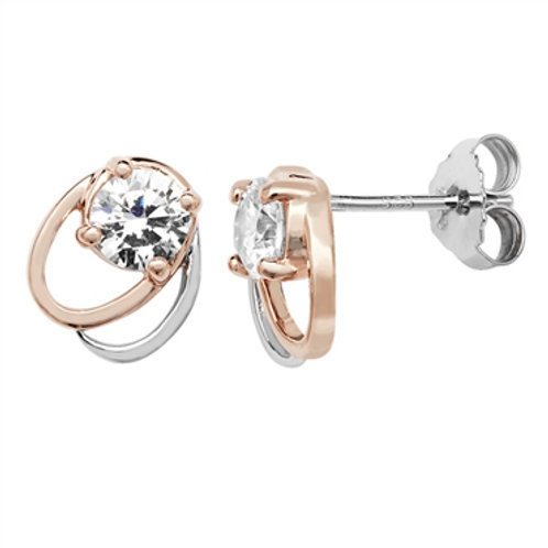Sterling Silver Classic Two Tone Studs