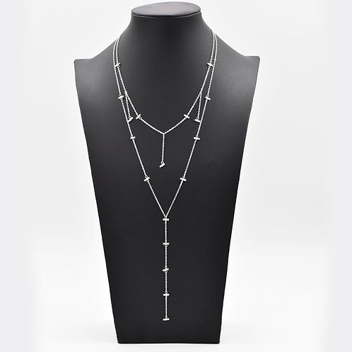 Silver Delicate Double Y-Shaped Layered Necklace