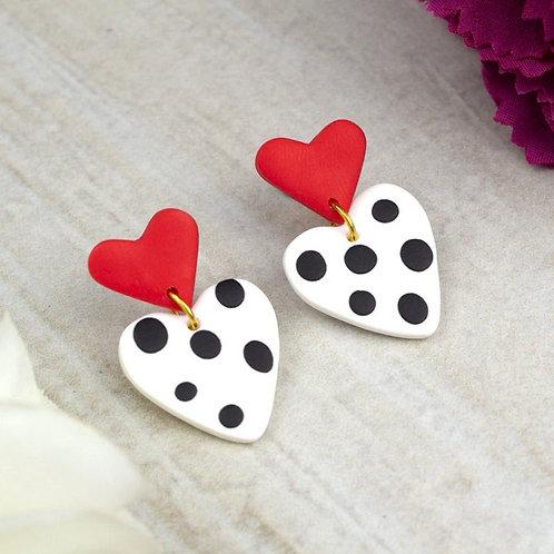 Red Polkadot Heart Stud Back Dangle and Drop Earrings