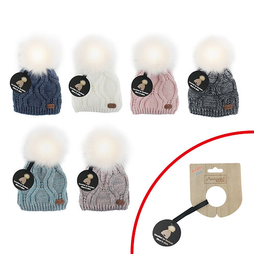 Winter Kids Hat With Light Up Pom Pom