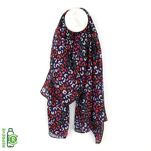 Navy Blue, Red & Pink Print Recycled Scarf