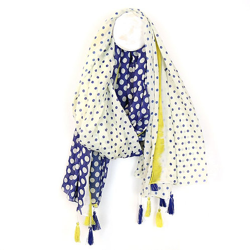 White Scarf With Spots & Tassels