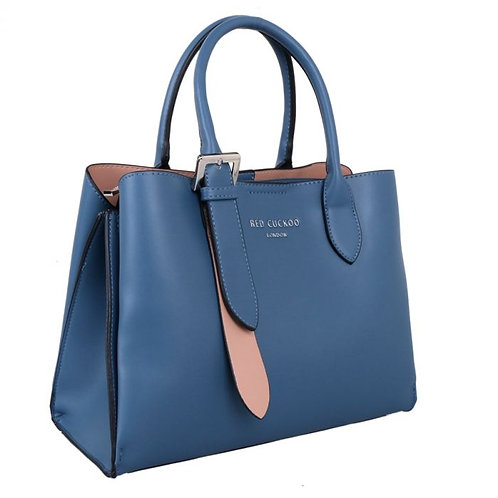 Red Cuckoo Blue Tote With Buckle