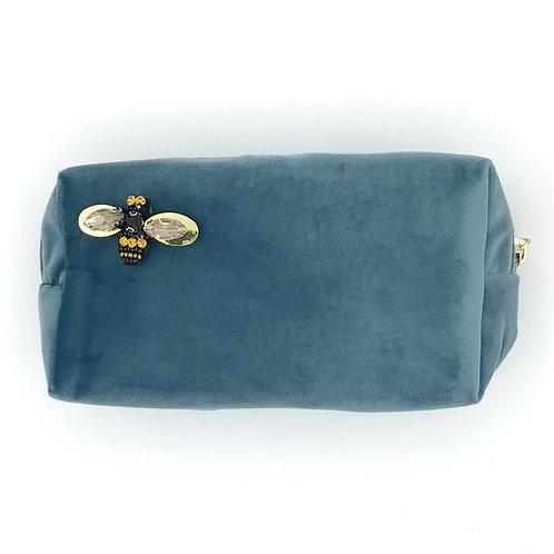 Velvet Make Up Bag With Bumblebee Pin - Malibu Blue