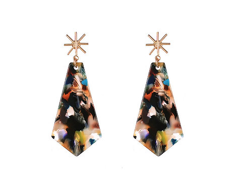 Multi Coloured Acrylic Geo Earrings