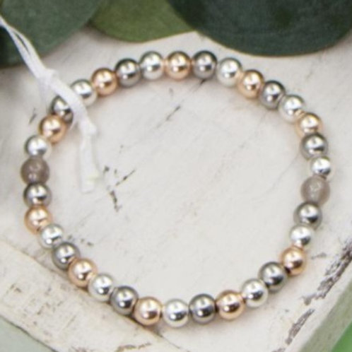 Multi Strand Bracelet With Mixed Tone And Grey Agate Beads