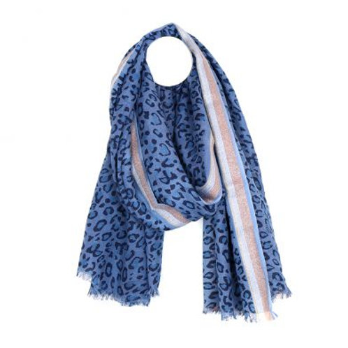 Blue Wool Mix Leopard Print Scarf