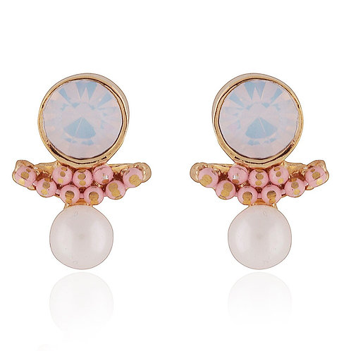Milky Semi-Precious Stud Earrings